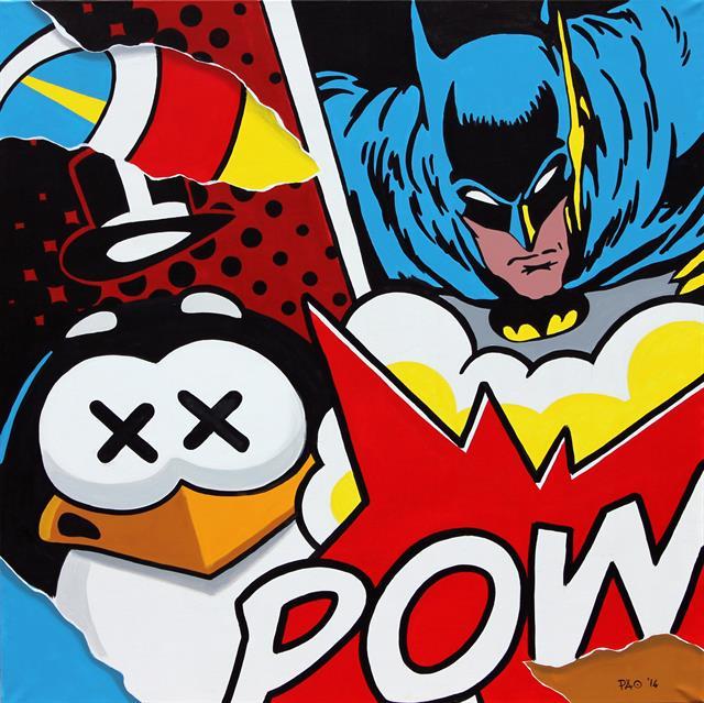 PAO Batman Vs Penguin, Serigrafia Mixed Media, 100X70 Cm, 2017